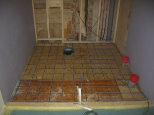 Pesuhuoneen lattialämmitykset.